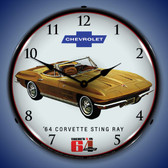 1964 Corvette Sting Ray Lighted Wall Clock 14 x 14 Inches