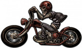 Skull Biker Metal Sign 24 x 14 Inches