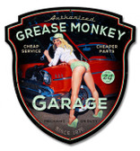 Grease Monkey XL Pinup Girl Metal Sign 23 x 24 Inches