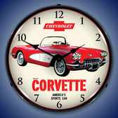 1959 Chevrolet Corvette Lighted Wall Clock 14 x 14 Inches