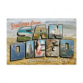 San Diego Postcard Metal Sign 36 x 24  Inches