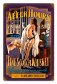 After Hours Scotch  Pinup Girl Metal Sign 24 x 36 Inches