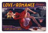 Love And Romance Pinup Girl Metal Sign 36 x 24 Inches