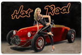 Hot Rod Pinup Girl Metal Sign 36 x 24 Inches