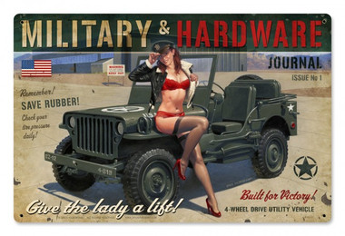 Military Hardware Pinup Girl Metal Sign 36 x 24 Inches