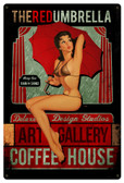 Red Umbrella Coffee Pinup Girl Metal Sign 12 x 18 Inches