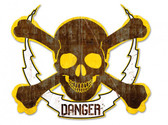 Skull Bolt Danger Metal Sign 19 x 16 Inches