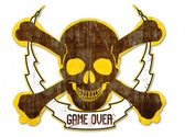 Skull Bolt Game Over Metal Sign 19 x 16 Inches