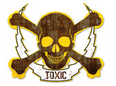Skull Bolt Toxic Metal Sign 19 x 16 Inches