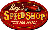 Speed Shop Oval X-LARGE Tin Sign - Personalized 42 x 30 Inches