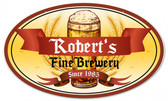 Fine  Brewery Oval Tin Sign - Personalized 24 x 14 Inches
