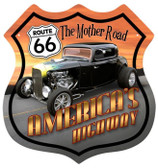 Vintage-Retro Route 66 Hotrod Shield Metal-Tin Sign