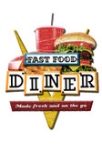 Fast Food Diner 3-D Metal Sign 24 x 24 Inches