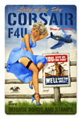 Corsair F4U Pinup Girl Metal Sign 18 x 12 Inches