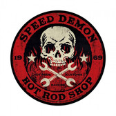 Speed Demon Red Skull Metal Sign  28 x 28 Inches