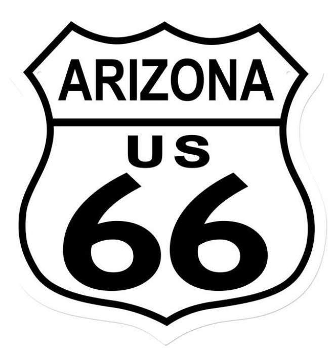 retro route 66 arizona shield tin sign