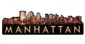 Manhattan Skyline Metal Sign  29 x 9 Inches