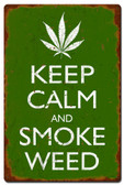 Keep Calm and Smoke Weed Metal Sign 16 x 24 Inches