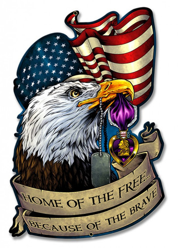 Personalized Street Signs >> Purple Heart Eagle Flag Metal Sign 13 x 20 Inches