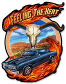 Hot Rod Steer Skull Metal Sign 13 x 17 Inches