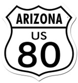 Vintage-Retro Route 80 Arizona Shield Metal-Tin Sign