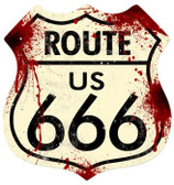 Vintage-Retro Route 666 Shield Metal-Tin Sign