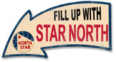 Fill Up With North Star Arrow Metal Sign 26 x 14 Inches
