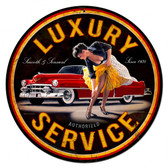 Luxury Service - Pin-Up Girl Metal Sign 28 x 28 inches