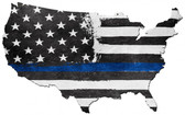 USA Map Thin Blue Line Metal Sign