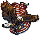 Eagle and Guns Metal Sign 18 x 16 Inches