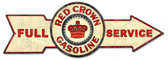 Full Red Crown Gasoline Arrow Metal Sign 32 x 11 Inches