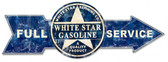 Full Service White Star Gasoline Arrow Metal Sign 32 x 11 Inches