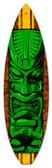 Vintage-Retro Green Tiki Surfboard Metal-Tin Sign