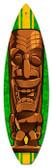 Vintage-Retro Brown Tiki Surfboard Metal-Tin Sign