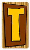 Vintage-Retro Tiki Letter T Metal-Tin Sign