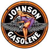 Johnson Gas Pinup Girl Metal Sign 14 x 14 Inches