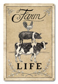 Farm Life Livestock Metal Sign 18 x 12 Inches