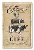 Farm Life Livestock Metal Sign 18 x 12 Inches