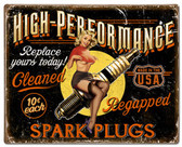 Spark Plug High Performance Pinup Girl Metal Sign 30 x 24 Inches