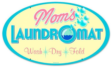 Vintage-Retro Moms Laundry Round Metal-Tin Sign