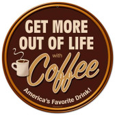 Vintage-Retro Get More Coffee Round Metal-Tin Sign