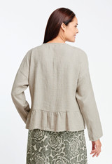 Back view of the Casual Blouse in Natural over the Bias Tea Length in Natural Woodcut.