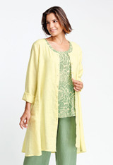 Day Duster shown in Endive over the Blossom Tank in Watercress Woodcut.