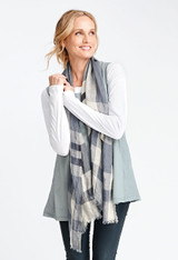 Solstice Tank shown in Steel over the Lunar Tee in White accessorized with the Plaid Scarf in Natural Plaid.