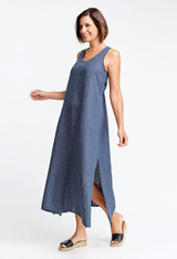 The Racerback Dress shown in Denim.