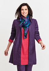 In Amethyst worn over the Whisperer Dress in Ruby and tied together with the Scarf in Plaid.
