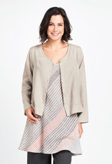 2/3's Shirt in British Khaki over the Cami Tunic in Endless Stripe.