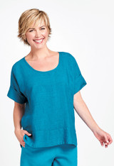 Sage Top in Lagoon Stria.