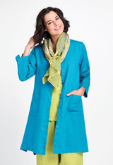 Cleanline Duster in Lagoon with Scarf in Lemongrass Stria.