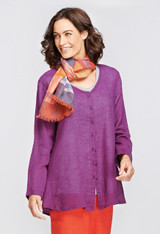 Shown in Grape Juice Voile with Multi Stripe Scarf in Tomato Stripe.